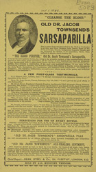 Advert for Jacob Townsend's Sarsparilla, medicine